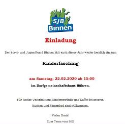 Einladung zum Kinderfasching 2020 in Bühren©SJB Binnen